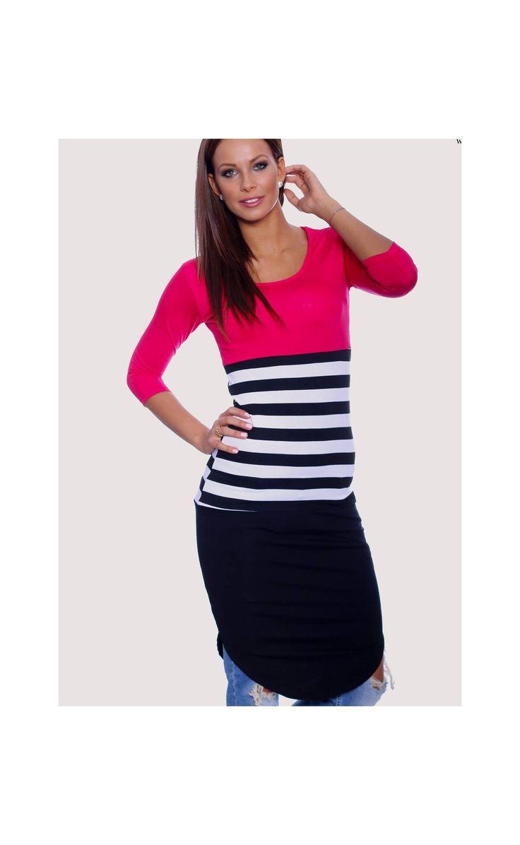 Háromnegyedes ujjú ruha, 3/4 es ujjú ruha magenta fekete színű ruhák - Újdonságok - Női Ruha Webáruház, Alkalmi ruha webshop tunika, Felső
