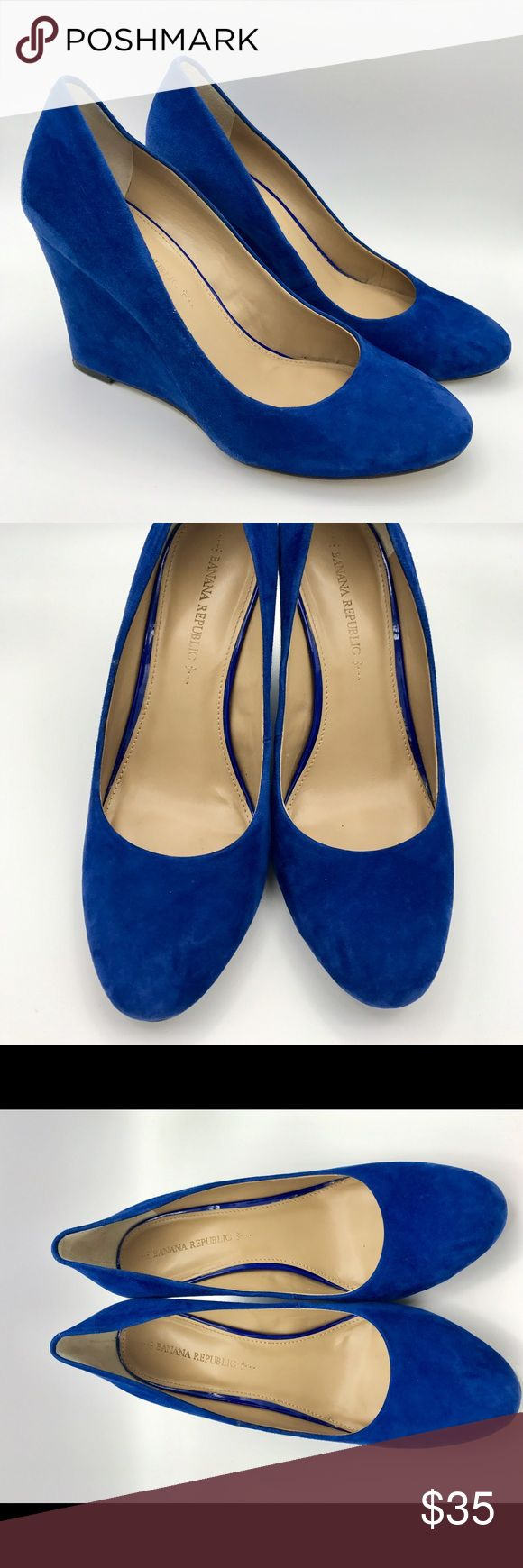 Cobalt Blue Wedge size 7.5 Suede wedge Blue Cobalt size 7.5 gently worn Banana Republic Shoes Wedges