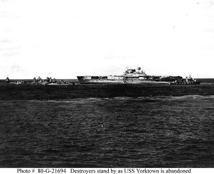 USS Yorktown (CV 5) is abandoned during the afternoon of 4 June 1942.