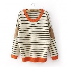 Striped Leather Sleeve Pad Beige Pullover