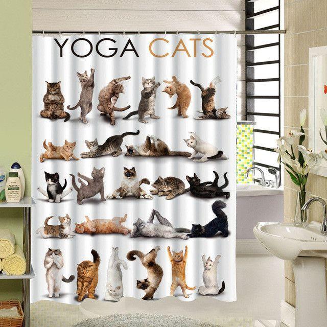 Yoga Cats Shower Curtain & Hooks