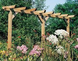 Een eenvoudige pergola verbindt meestal de ene muur met een andere. Kan begroeien met veel soorten klimplanten