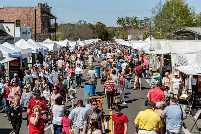 Fairhope Arts and Crafts Festival, held every March in downtown Fairhope Alabama.