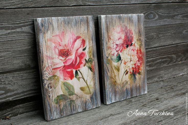 """Купить """"Розовые цветы"""" пара интерьерных панно - розовый, панно, панно настенное, панно декупаж"""