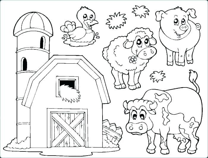 Coloring Pages Farm Animals Tractor Coloring Pages Printable Farm
