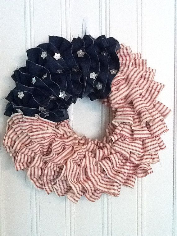 Red White and Blue Shabby Chic Ruffle wreath - dark denim and red ticking ruffles, white star buttons - cute...