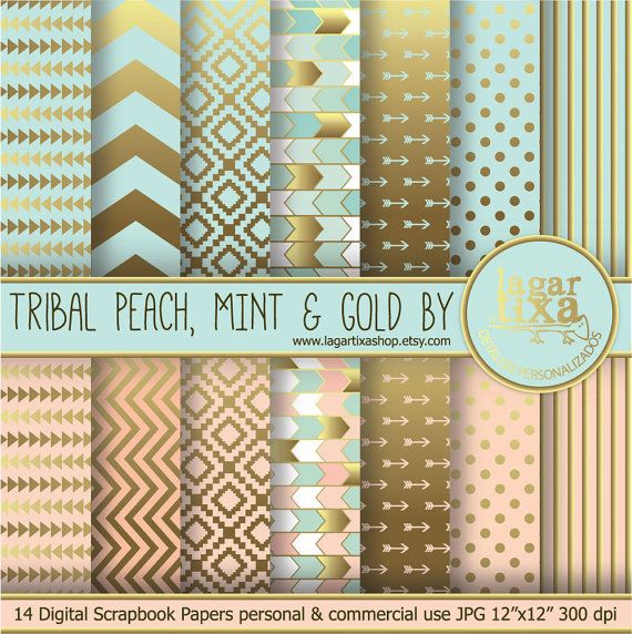 TRIBAL Gold Pale Coral Salmon Peach Mint Digital Paper Background Chevron Polka dots Scrapbooking Blog invitations thank you cards on Etsy, $4.00