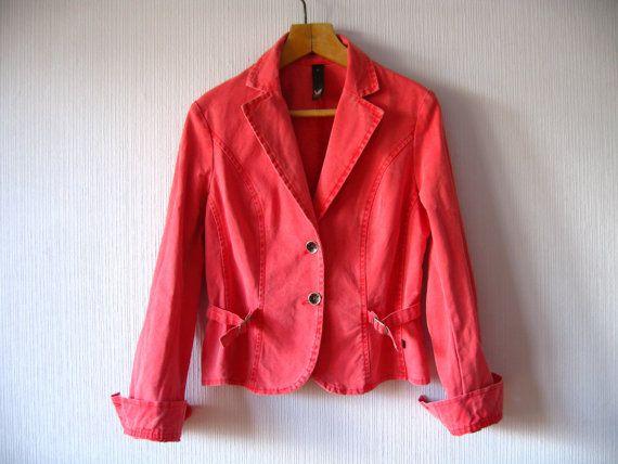 Denim Coral Jacket Peach Pink Womens Blazer by VintageDreamBox