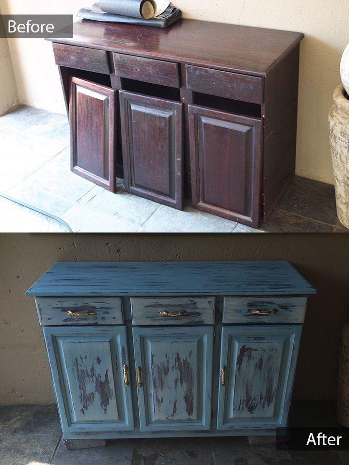 This Beautiful turquoise sideboard with three drawers and three doors is for sale ZAR 3500