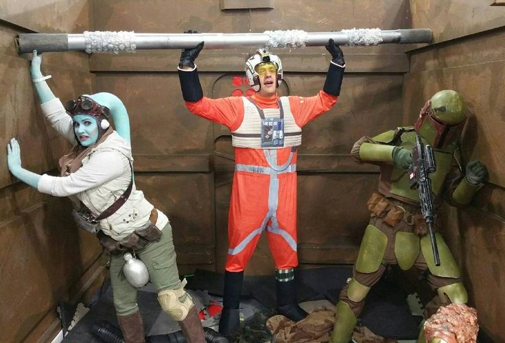 Just tryin' to survive the trash compactor with my lovely twi'lek wife and rebel pilot brother!