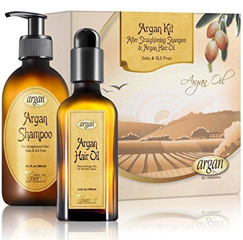 After Straightening Argan Shampoo  Hair Oil Kit  Moroccan Salt Free Shampoo for Flat Iron Smoothing Straightened Hair 101 oz and Hair Shine Argan Oil 34 oz Set * Click on the image for additional details.