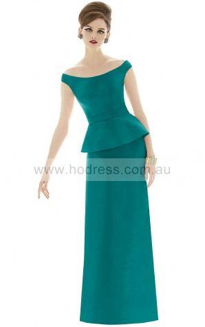 Sleeveless Zipper Off The Shoulder Floor-length Satin Formal Dresses b140639--Hodress
