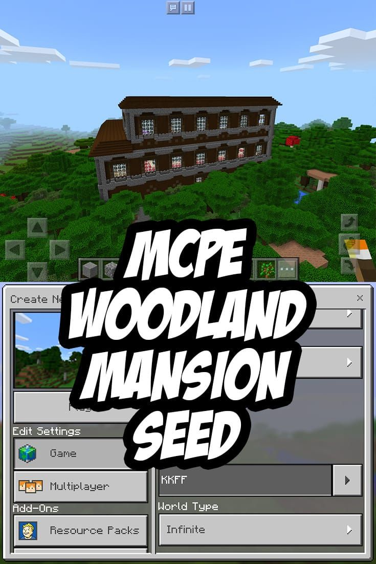 Minecraft PE Woodland Mansion ~700 blocks from spawn at 376 y 552 - SEED:KKFF