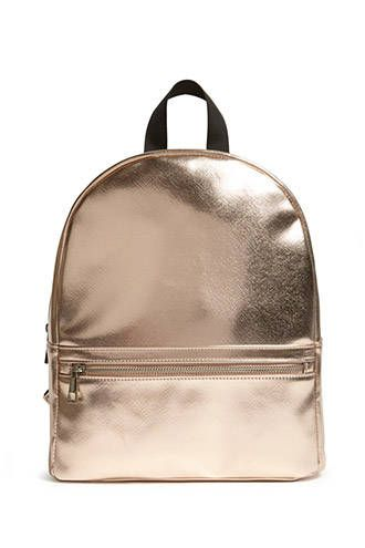 Faux Leather Metallic Backpack