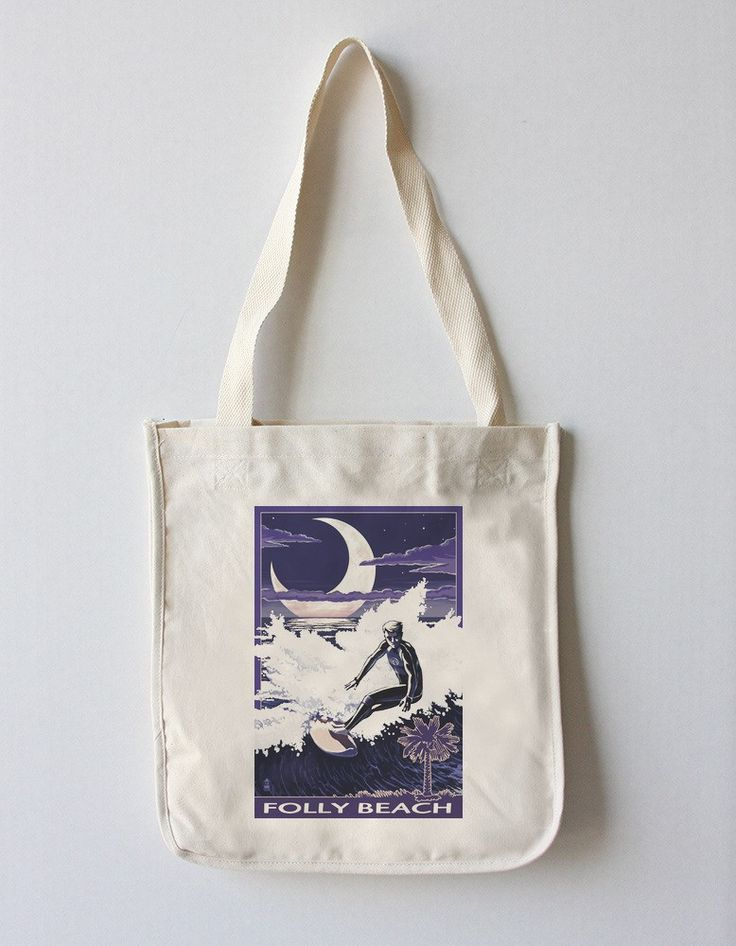 Folly Beach, South Carolina - Surfer with Palmetto Moon - Lantern Press Artwork