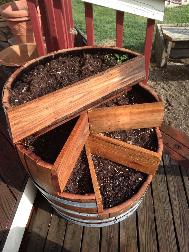 Barrel planter from a single wine barrel and wood ...