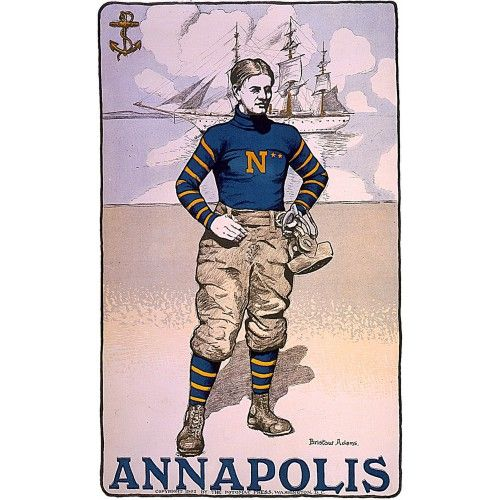 Annapolis Naval Academy Football Player Poster 18x24