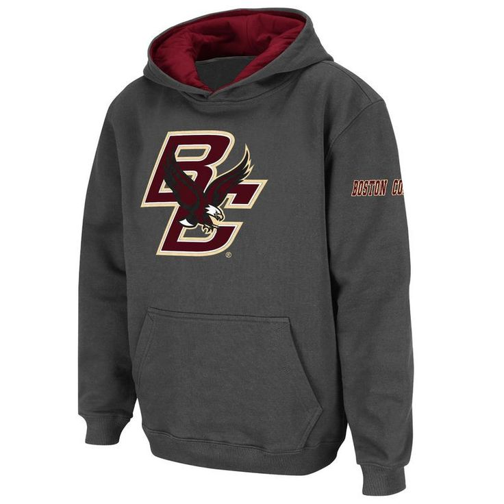 Boston College Eagles Stadium Athletic Youth Big Logo Pullover Hoodie - Charcoal