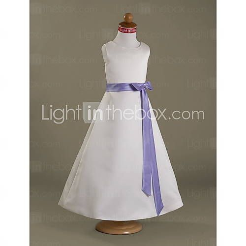 [NOK kr. 441] A-line Floor-length Satin Flower Girl Dress