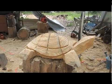 DJ: The Texas Chainsaw Master, Demonstrates How to Carve a Turtle- video by Les Moore - Austin Texas -Olympus PEN Mini E-PM1 Micro 4/3 Digital Camera & 14-42...