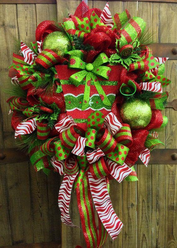 Whimsical Christmas Mesh Wreath on Etsy, $95.00