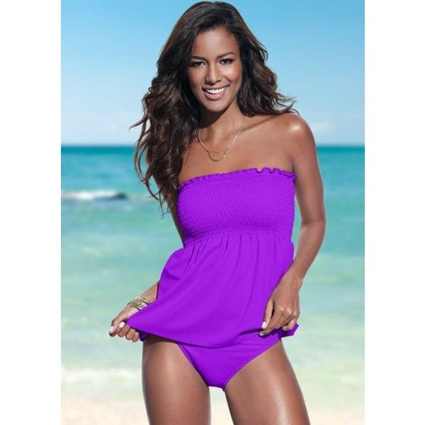 Venus Smocked Tankini Top ($52) ❤ liked on Polyvore featuring tops, smock tops, purple top, smocked top and strappy top