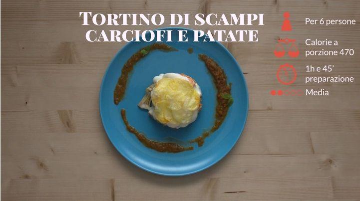 Scopri come preparare un ottimo secondo piatto per le tue cene importanti con la video ricetta del tortino di scampi, carciofi e patate su Sale&Pepe
