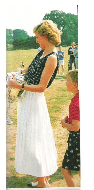 August 6, 1989: Princess Diana presents James Hewitt the Captains' and Subalterns' Cup at the Inter Regimental Polo Championship in Tidworth, Wiltshire.