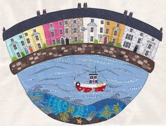 Framed original textile artwork 'Beaumaris Houses'. Applique and free motion machine embroidery. Sea, boat and houses in Anglesey.