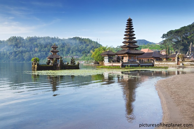 The Bratan Caldera temple on the Bratan lake in Bali, Indonesia.