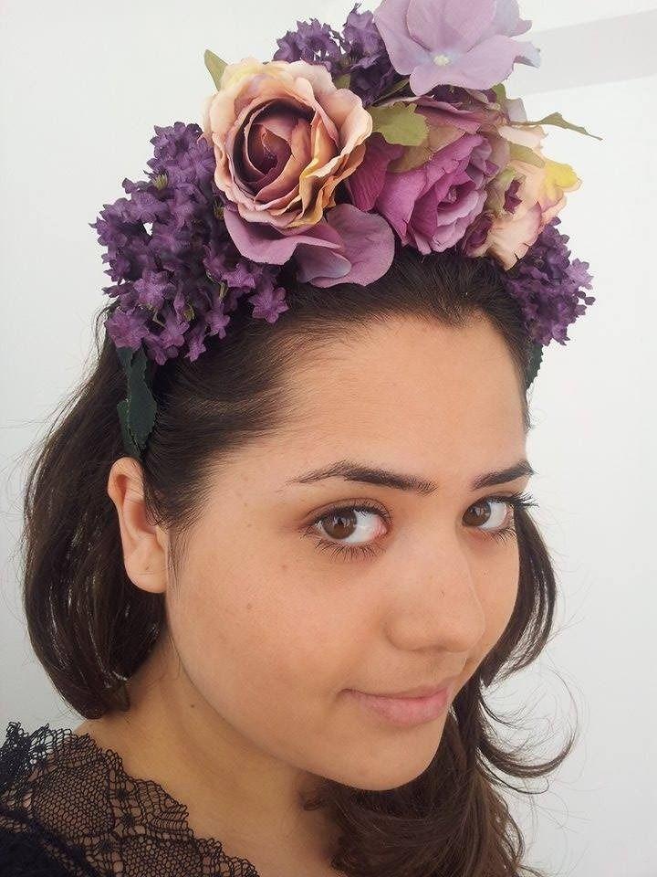 Courounne de fleurs artificielles en tissu,serre de tete : Accessoires coiffure par mireille50