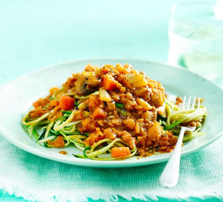 A healthy tomato 'pasta' dish that makes full use of your spiralizer. This vegan-friendly supper is five of your five-a-day and will fill you to the brim