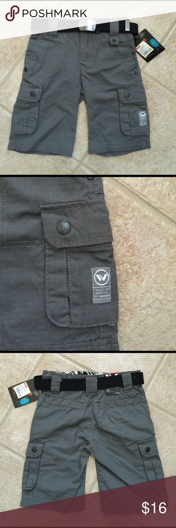 Shaun White Boys Gray Cargo Shorts w/ Black Belt Shaun White Boy's Cargo Shorts  I love Shaun White boys' clothing!  It features many aesthetic designs very appealing to boys.   New with tags Sizes: 5 Color: Quartz Gray Included belt: Black fabric 100% Cotton Canvas  Two front pork chop pockets, two cargo pockets, two rear pockets Bronze metal details Features horizontal and vertical line design Extended belt loop Zipper fly Adjustable waistband Wear with or without belt  These shorts are…