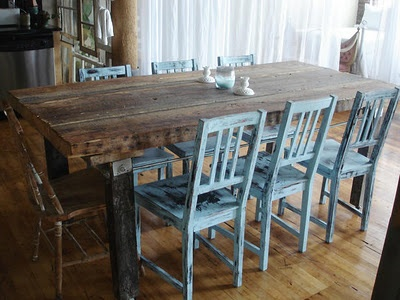 This Rustic Dining Room Table With Distressed Blue Chairs Was Featured On  HGTV Design Star.