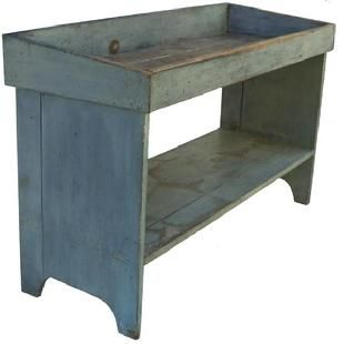 Y69 19th century Pennsylvania,Drysink Bucket Bench in old pewter gray paint, with a dovetailed well, the bottom shelf is triple mortised int...