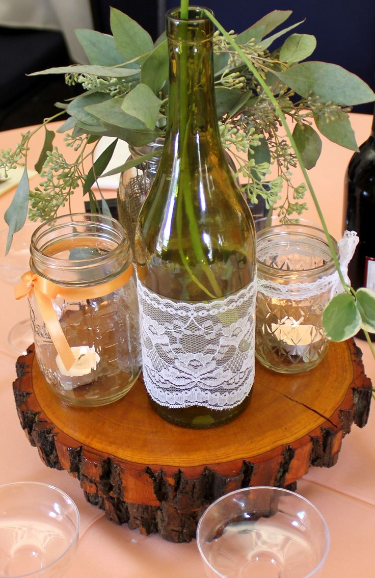 Wood tree slab wedding centerpieces trees receptions for Glass tables for wedding reception