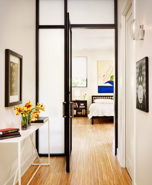 love the idea of frosted glass doors used in the interior, allowing more light and a more open feel.