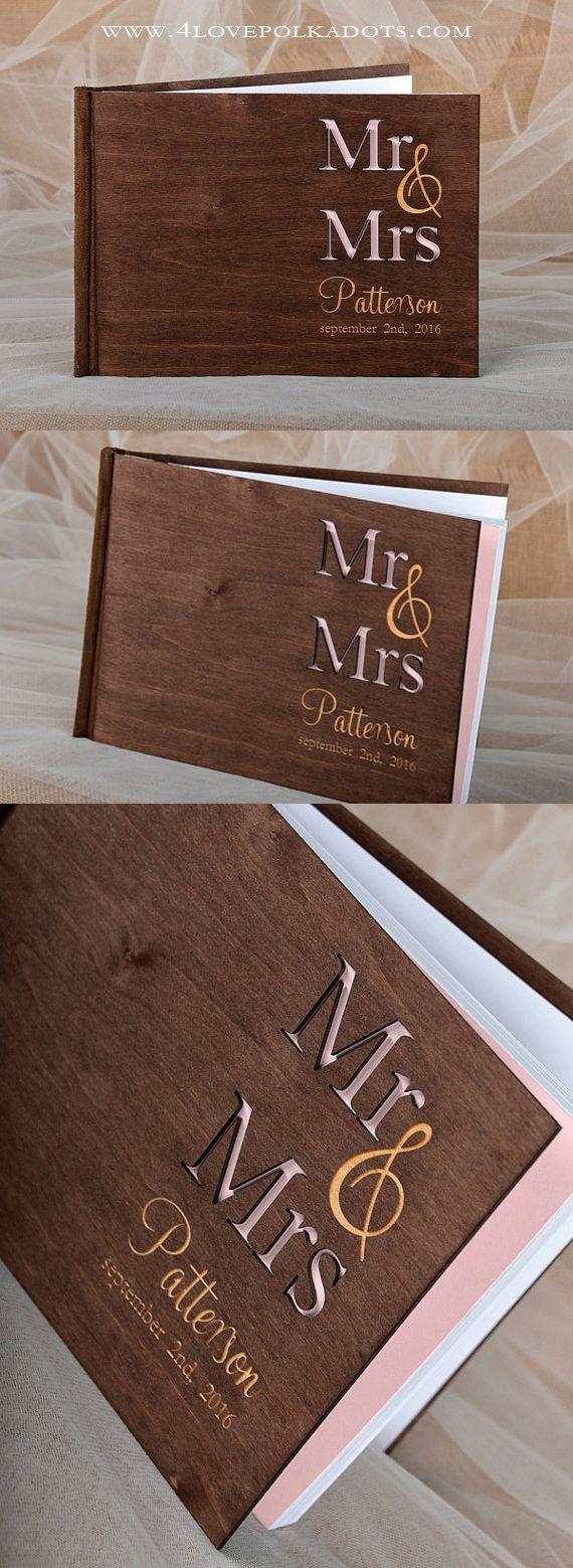 Wooden Wedding Guest Book - Natural Wood, Custom Engraving #weddingideas #countrywedding #rustic
