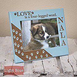 Love is a Four Legged Word - Engraved on Wood - Personalized Dog Picture/ Photo Frame - Pawprints