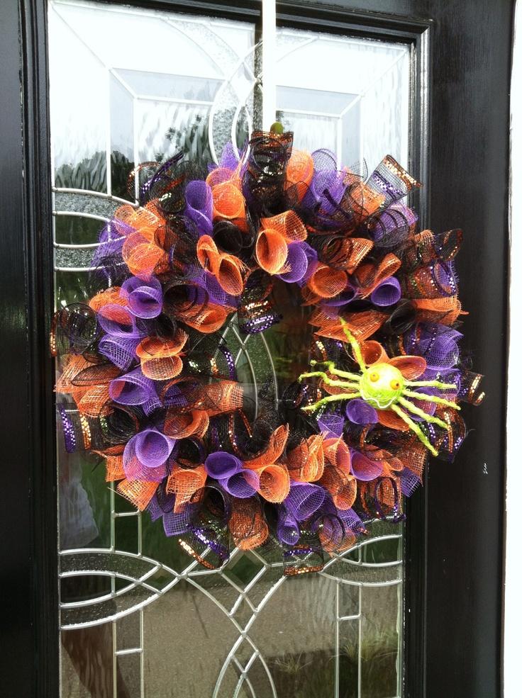 Deco mesh halloween wreath for my front door!