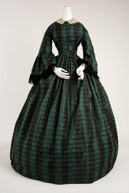 ca. 1860 Day Dress, American, dark green & black verticle stripe/black trim/cream collar