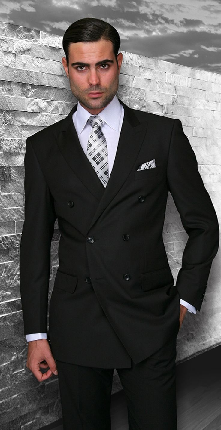Statement Solid Black Italian Wool Double Breasted Suits ...