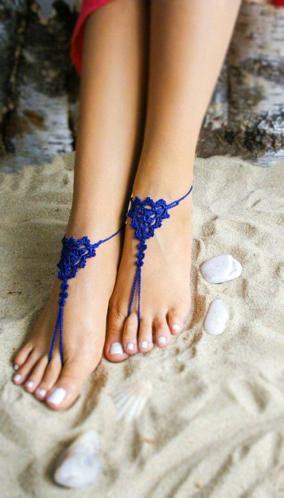 New Royal blue crochet barefoot sandals bridesmaids by Bryleens