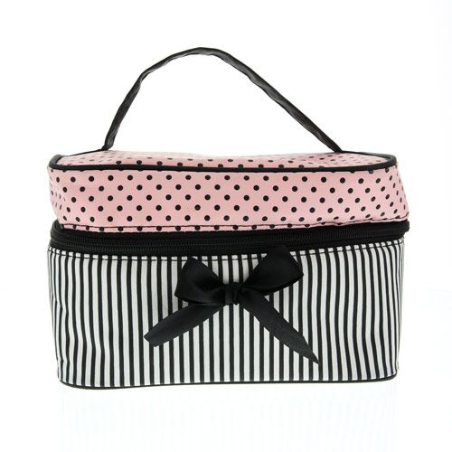Large Polka Dot Stripe Cosmetics Bag
