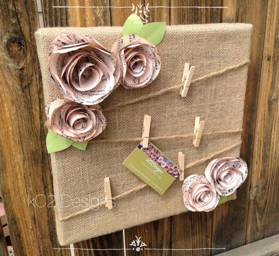 Cork board. Message board. Note board. Burlap shabby chic flowers. Book page. Sheet music