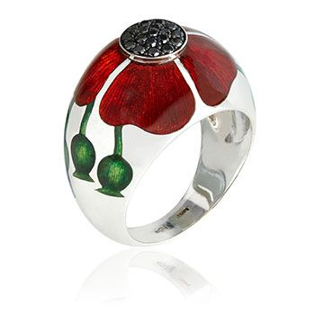 Ilgiz Poppy ring. 18ct yellow gold and and 0.14ct black diamond. A master of his craft, Ilgiz Fazulzyanov combines different styles and techniques such as filigree, engraving, embossing and enamel his work, pairing innovative concepts with exceptional craftsmanship.