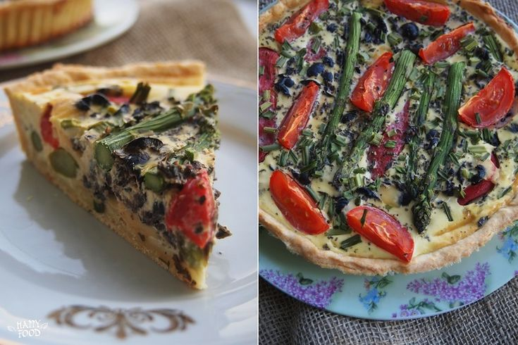 HAPPYFOOD - Киш со спаржей, перцем и томатами (Quiche with asparagus, olives, roasted peppers and tomatoes)