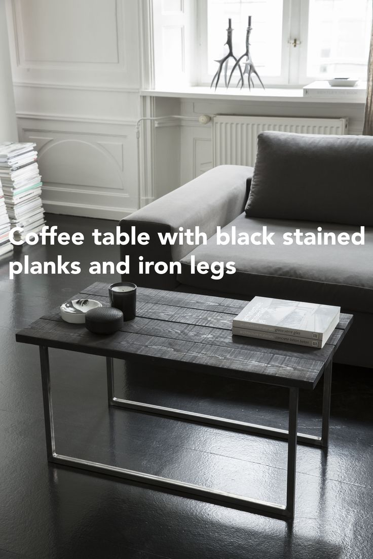Coffee table in wood and iron. Sofabord i træ og jern.