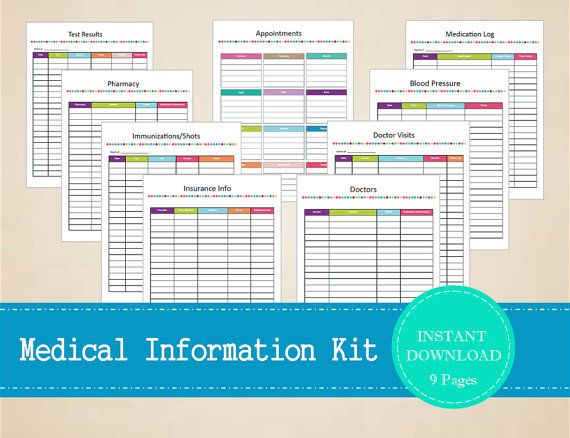 Medical Information Kit Printable and by MBucherConsulting