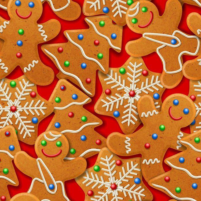 Фон бесшовный - рождественское имбирное печенье. Новогодний фон. Background seamless - Christmas ginger biscuits. Christmas background.